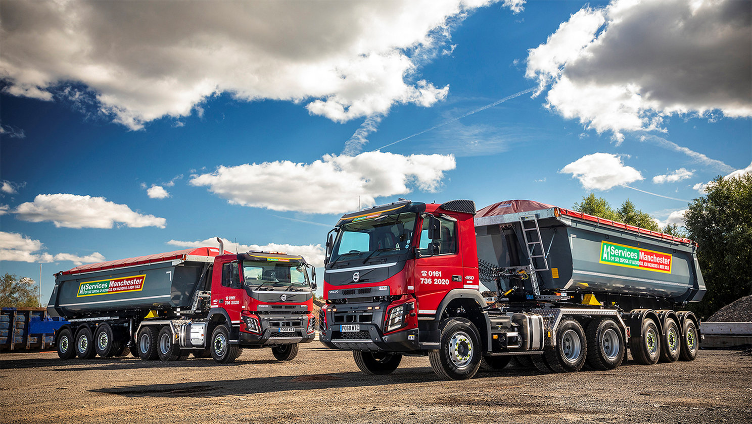 Two new Volvo FMX tractor units reach new heights for A1 Services (Manchester) Limited